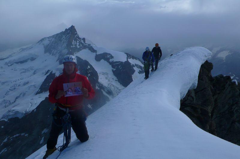 Con Joséphine en la cima del Ober Gabelhorn 4063m